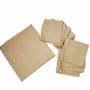 """Large Plain Tan Rectangle Tablecloth and 6 Napkins Embroidered 58 x 82"""""""